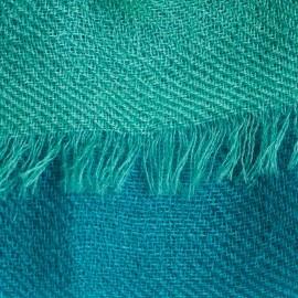 Trefärgad kashmirsjal i blå, vit och havsgrön