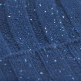 Blå flecked ribbstickad mössa i kashmir