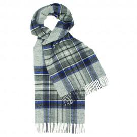 Grå tartan scarf med blått och vitt
