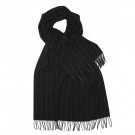Stor svart halsduk med tunna vita ränder