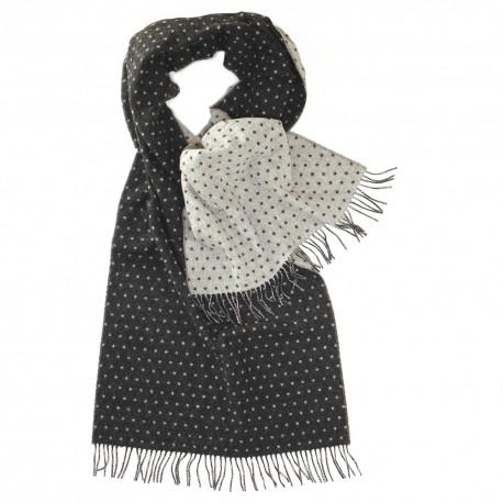 Dubbelsidig scarf med prickar i grått och vitt