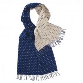 Dubbelsidig scarf med prickar i blått och vitt