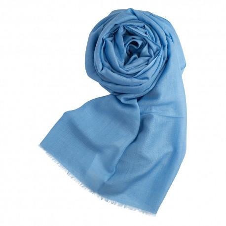Ljusblå pashminasjal i kashmir och siden