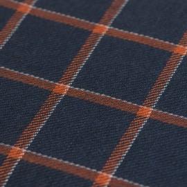 Blå scarf med orange kuber i kashmir / ull