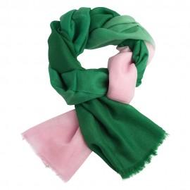 Tvåfärgad pashmina sjal i mörkgrön och rosa