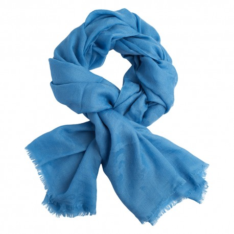 Ljusblå jacquardvävd pashmina sjal