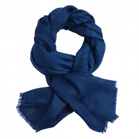 Mörkblå jacquardvävd pashmina sjal