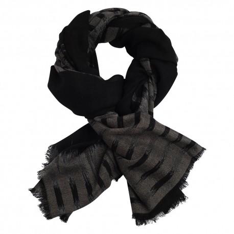 Ikat vävd scarf i svart/grå kashmir och ull
