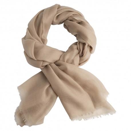 Sand färgad pashmina sjal i 2-trädigt kypert