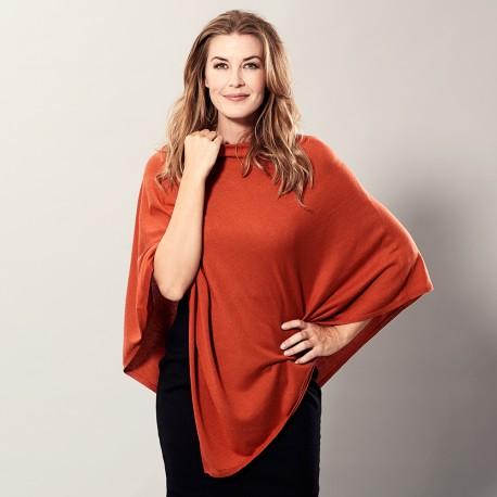Orange poncho i lätt silke / kashmir blandning