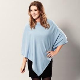Ljusblå poncho i lätt silke / kashmir blandning