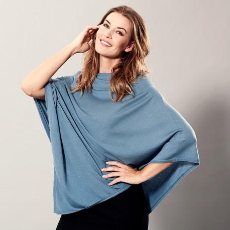 Mörkblå poncho i lätt silke / kashmir blandning
