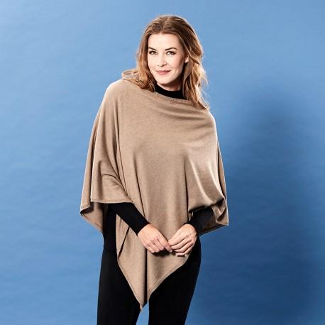 Beige poncho i lätt silke / kashmir blandning
