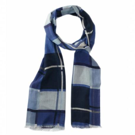 Rutig scarf i mörkblå nyanser
