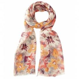 Blommig halsduk i varma färger