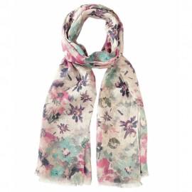 Blommig scarf i blå och röda färger