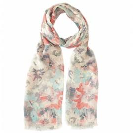 Blommig halsduk i pastellfärger