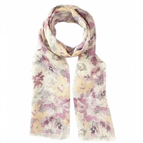 Blommig scarf i fina färger