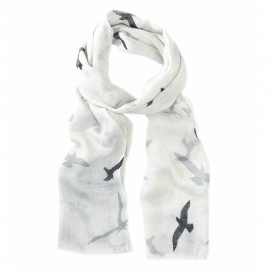 Vit halsduk med fågeltryck