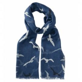 Blå halsduk med fågeltryck