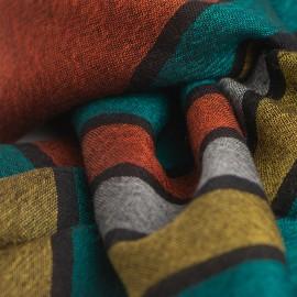 Svart pashmina sjal med färgade ränder