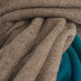 Tvåfärgad jak halsduk i naturbrun/petrolblå
