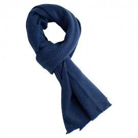 Blå scarf i fiskbensmönster i kashmir och ull