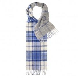 Dubbelsidig rutig scarf i blå, vit och grå