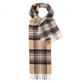 Dubbelsidig rutig scarf i beige, blå och svart
