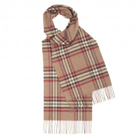 Skotskrutig scarf i beige