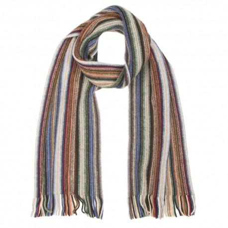 Randig scarf i kalla jordfärger