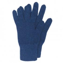 Mörkblå stickade handskar i lammull