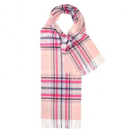 Rosa skotskrutig scarf i lammull