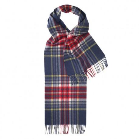 Blå skotskrutig scarf i lammull