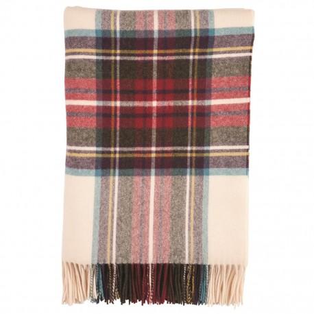 Stor skotskrutig scarf i benvit