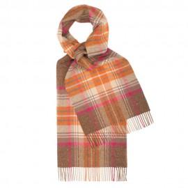 Skotskrutig scarf i orange och brun