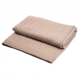 Beige kabelstickad cashmere filt