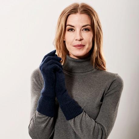 Marinblå stickade handskar