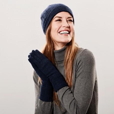 Marinblå kashmir beanie och handskar