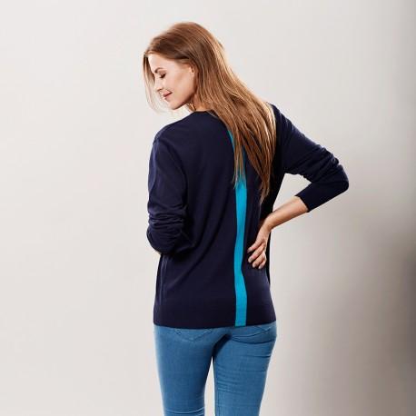 Navy silke / kashmir tröja med blå rand