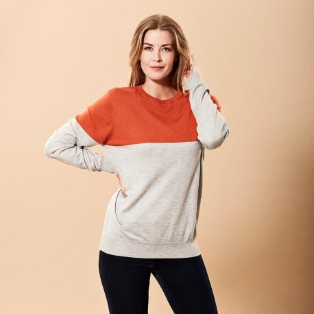 Silke / kashmir tröja i orange / off-white