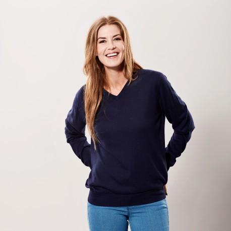 Marinblå tröja i silke / kashmir v-hals