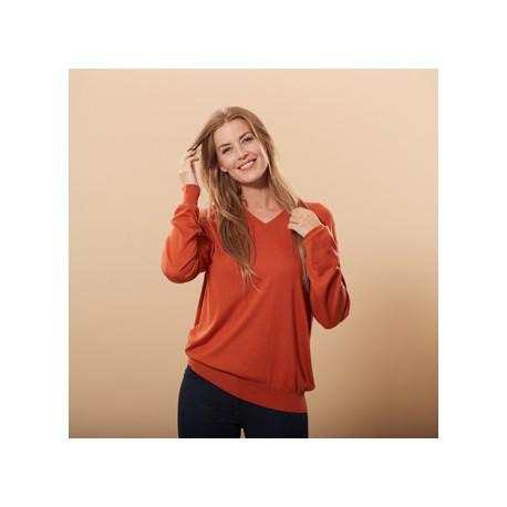 Orange tröja i silke / kashmir v-hals