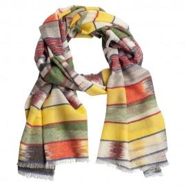 Ikat vävd kashmir halsduk i klara färger