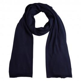 Marinblå stickad sjal i silke / kashmir