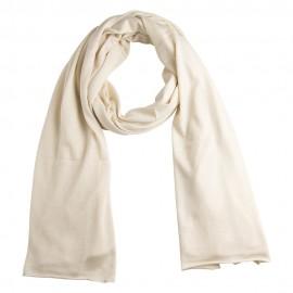 Benvit stickad sjal i silke / kashmir