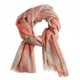 Skotskrutig kashmir sjal i röd och beige