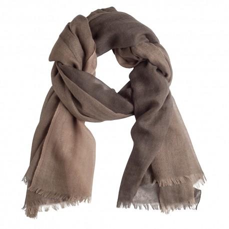 Storrutig kashmir sjal i ljus och mörkbrun