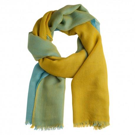 Storrutig kashmir sjal i senapsgul och blå