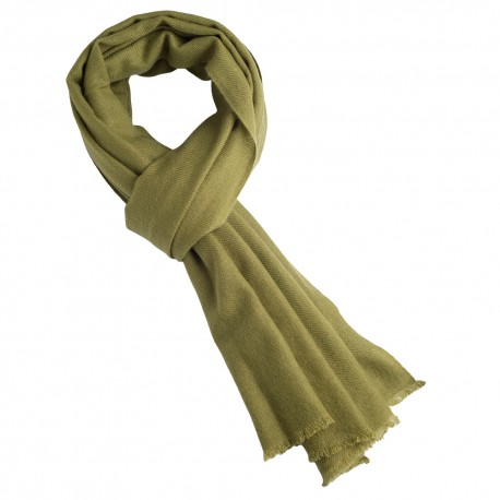 Olivgrön kypertvävd pashmina halsduk